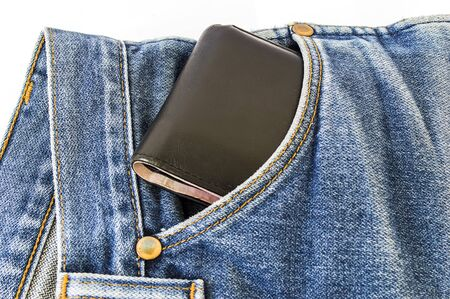 trouser: black wallet in the pocket of jeans trouser Stock Photo