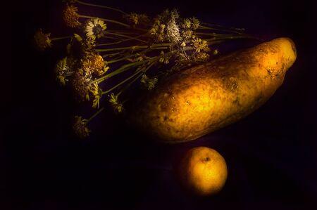 papaya flower: Still life with fruit flower orange and papaya