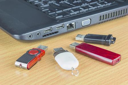 usb port: USB flash drive with usb port on labtop computer