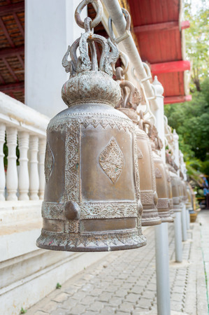 buddhism: Bells in Buddhism temple, In Thailand Stock Photo