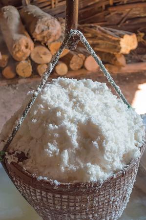 evaporate: Boiled rock salt from ancient salt wells, asia thailand