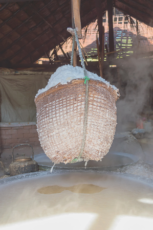 evaporate: Boiled rock salt from ancient salt wells in thailand Stock Photo