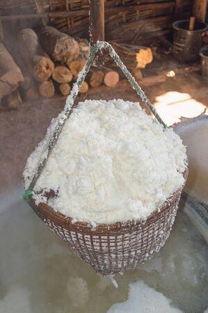 evaporate: Boiled rock salt from ancient salt wells, thailand