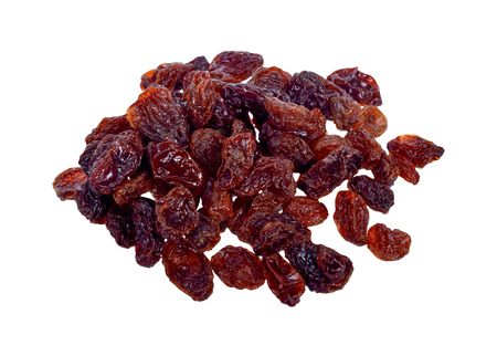 Dried raisins isolate on white background.