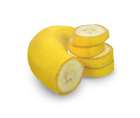 Banana sliced isolate on white background. Stock Photo