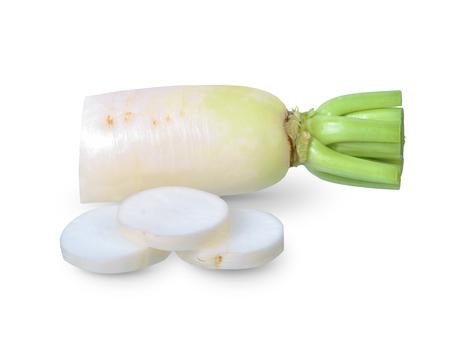 Daikon radish isolated on white background, Stock Photo