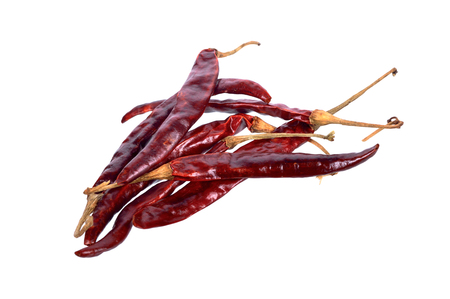 Dried red chili isolated on white background