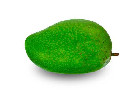 Green mango isolated on white background.