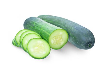 Fresh juicy slice cucumber isolated on white background