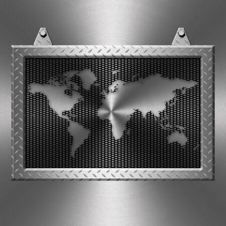 diamond plate: Metal diamond plate frame on a metal background