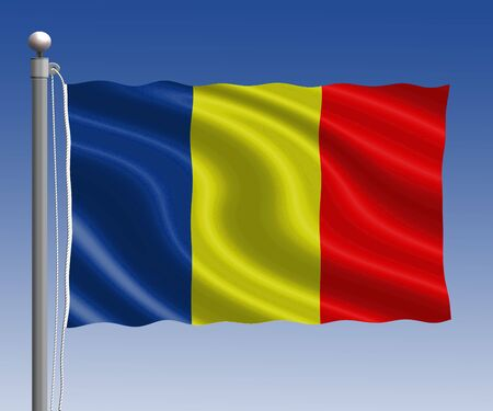 chad flag: chad flag in pole on blue sky background