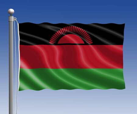 malawi flag: Malawi flag in pole on blue sky background