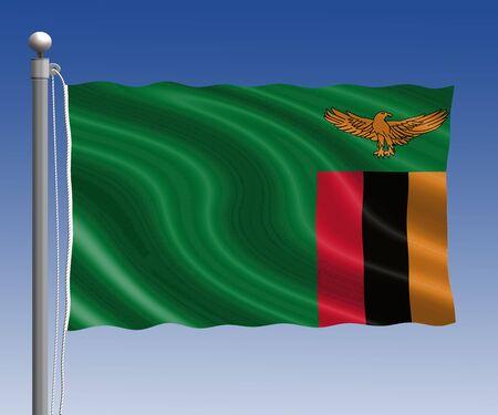 zambia flag: Zambia flag in pole on blue sky background