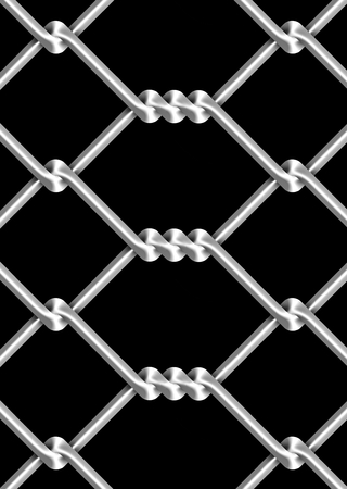 part prison: mesh wire for fencing on a black background Stock Photo