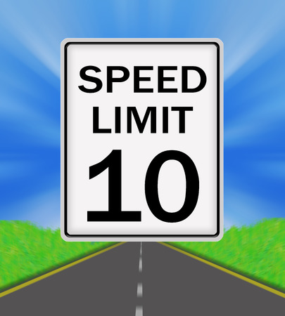 sky is the limit: Speed Limit 10 sign on the road and sky background