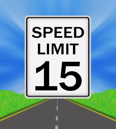 sky is the limit: Speed Limit 15 sign on the road and sky background