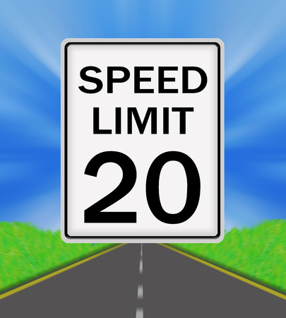 sky is the limit: Speed Limit 20 sign on the road and sky background
