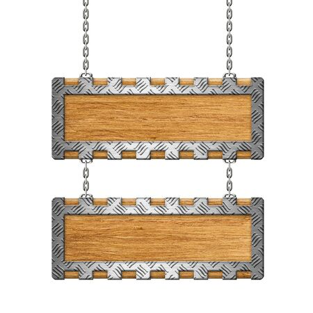 diamond plate: Wooden sign with Steel diamond plate rim on the chains Stock Photo