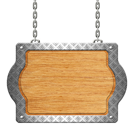 rivet: Wooden sign with Steel diamond plate rim on the chains Stock Photo