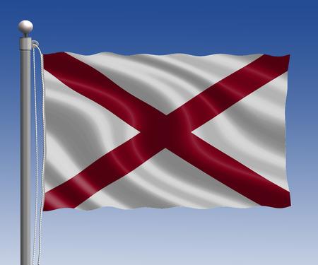 alabama flag: Alabama flag in pole on blue sky background