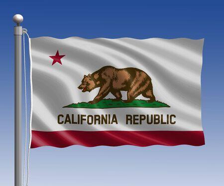 california flag: California flag in pole on blue sky background