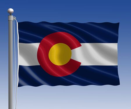 colorado flag: Colorado flag in pole on blue sky background