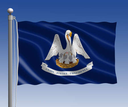 louisiana flag: Louisiana flag in pole on blue sky background