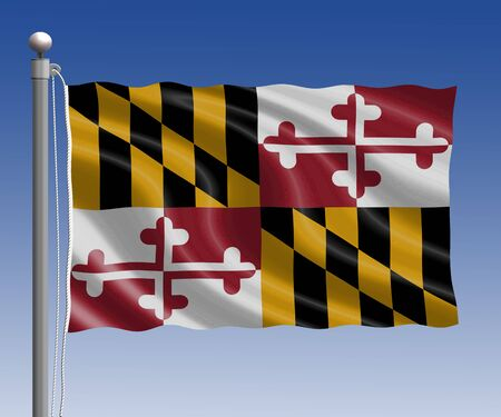 maryland flag: Maryland flag in pole on blue sky background