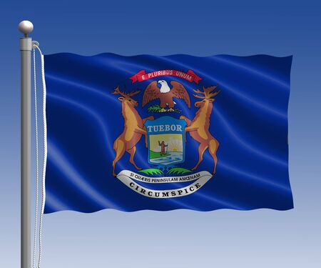 michigan flag: Michigan flag in pole on blue sky background