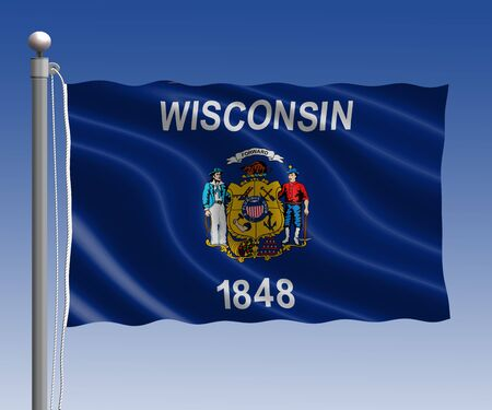 wisconsin flag: Wisconsin flag in pole on blue sky background
