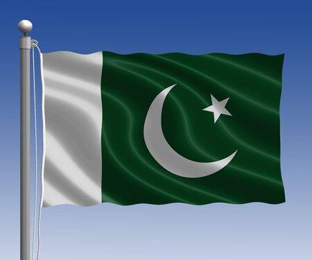 pakistan flag: Pakistan flag in pole on blue sky background Stock Photo