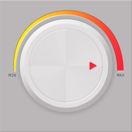 turn dial: White volume button on gray background Stock Photo