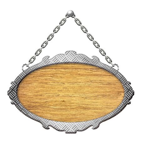 steel plate: Wooden sign with Steel diamond plate rim on the chains Stock Photo