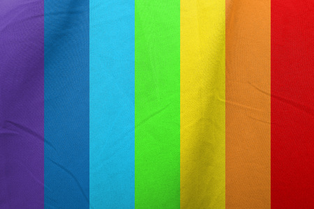 waft: Rainbow color strips pattern on fabric texture Stock Photo