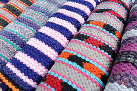 napped: carpet background or texture with stripes in many colors