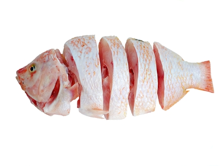 white nile: pieces of chopped nile tilapia on a white background Stock Photo