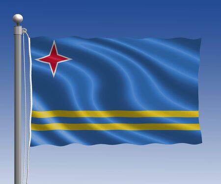 aruba flag: Aruba flag in pole on blue sky background Stock Photo