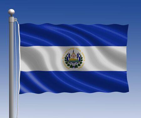 bandera de el salvador: Bandera de El Salvador en la pole en el fondo de cielo azul