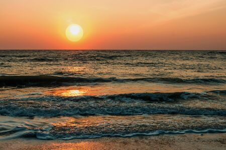 orange sunset: Orange sunset over the sea