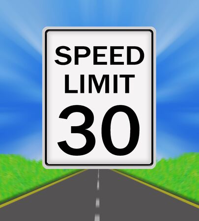 sky is the limit: Speed Limit 30 sign on the road and sky background