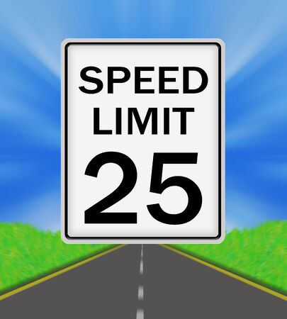 sky is the limit: Speed Limit 25 sign on the road and sky background