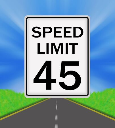 sky is the limit: Speed Limit 45 sign on the road and sky background Stock Photo
