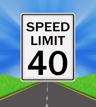 sky is the limit: Speed Limit 40 sign on the road and sky background Stock Photo