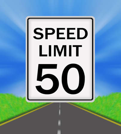 sky is the limit: Speed Limit 50 sign on the road and sky background