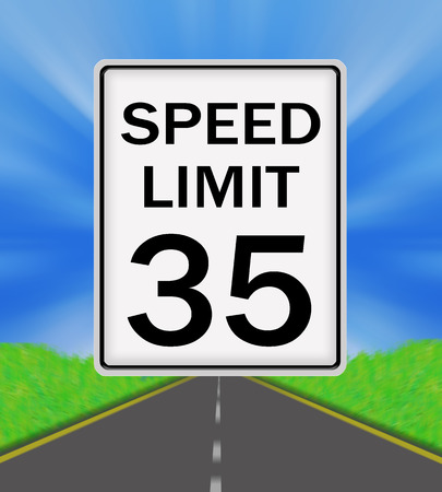 sky is the limit: Speed Limit 35 sign on the road and sky background Stock Photo
