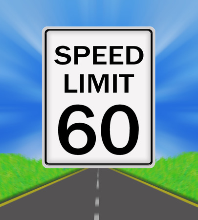 sky is the limit: Speed Limit 60 sign on the road and sky background