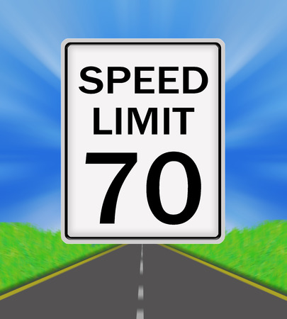 sky is the limit: Speed Limit 70 sign on the road and sky background Stock Photo