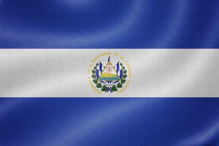 bandera de el salvador: Bandera de El Salvador en el fondo de textura de tela