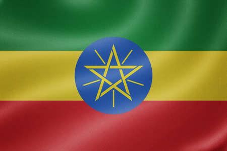 ethiopia flag: Ethiopia flag on the fabric texture background