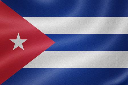 cuba flag: Cuba flag on the fabric texture background Stock Photo